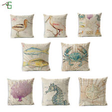 Aquatic Animals And Plants Cushion Covers Cotton Linen Throw Pillow Case
