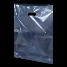 """CLEAR  Plastic Carrier Bags Shopping Bags/ Party Gift Bags  10"""" x 16"""" x 4"""""""