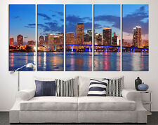 Miami City Cityscape Wall Art Canvas Print - Miami Night City Canvas Print