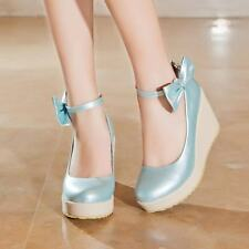 2013 Hot Sweet Casual Womens Wedge Heels Ankle Strap Bowknot Lovely Girls Shoes