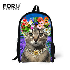 Beautiful Cat School Bags Women Girls Floral Canvas Backpack 3D Animal backpack