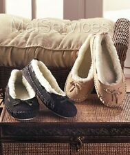 Womens Genuine Suede Moccasins Fleece Lined Warm Cozy Slippers Shoes