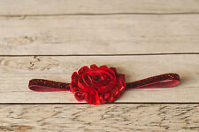 Red Headband Baby Toddler Girls Shabby Chic Flower Elastic Headbands Glitter
