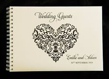 A5 Personalised Guest Book Filigree Heart + Crystal in Box + Optional Sign
