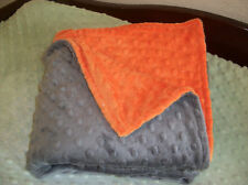 Handmade   Charcoal Grey and Orane Minky blanket    Receiving or Crib/Toddler