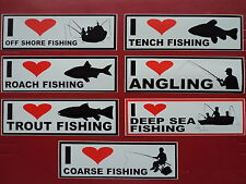 I LOVE ROACH TENCH TROUT SEA FISHING TACKLE BOX CAR BUMPER DECAL STICKERS