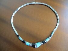 """Art Deco Marcasite Turquoise/Onyx Inlay Sterling Silver Choker Necklace 15.25"""""""