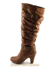 Tan Leatherette 2 Buckle Detail Round Toe Mid Heel Slouch Knee High Boots