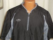 Rawlings Adult's Short Sleeve Batting Cage Jacket Color: Black and Gray
