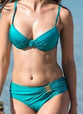 BIKINI SET BEACH PADDED BRA SWIMSUIT TURQUOISE SIZE EU 34 UK 75 D 8 10 12 14 M