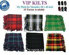 """Kilt Fly Plaid/bagpipes for Shoulder in Various Tartans 48"""" X 48"""" Acrylic Wool"""