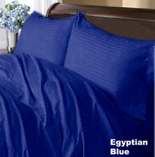 US FULL EGYPTIAN BLUE STRIPE 1000TC 100%EGYPTIAN COTTON US BEDDING COLLECTION