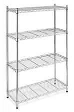 4 Tier Shelf Adjustable Steel Metal Wire Shelving Storage Rack Black & Chrome