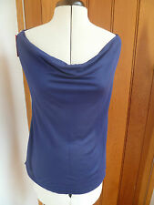 FCUK FRENCH CONNECTION NAVY BLUE COWL HALTER NECK BACKLESS TOP MODAL M BNWT
