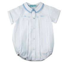 Feltman Brothers Infant Blue & White Embroidered Train Romper NWT Easter