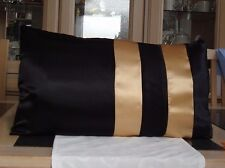 BLACK AND GOLD SATIN DESIGN BOLSTER CUSHION COVER