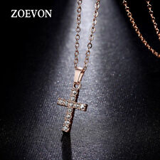 Women Religious Christian Cross Necklace Pendant Chain Charm Gold Plated Jewelry