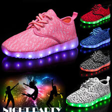 New Boys Girls 7 LED Light Up Luminous Sneakers Children Kids Casual Mesh Shoes
