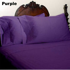 US FULL SIZE PURPLE STRIPE 1000TC 100%EGYPTIAN COTTON US NEW SHEET SET