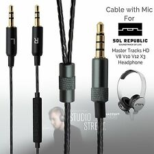 1.2m Audio Cable Cord For Sol Republic Master Tracks HD V8 V10 headphones Mic