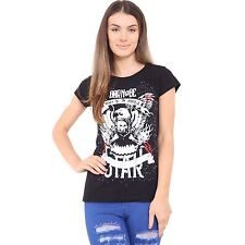 New Womens BORN TO BE ROCK N ROLL Round Neck Short Sleeve Top Ladies Tee T-Shirt