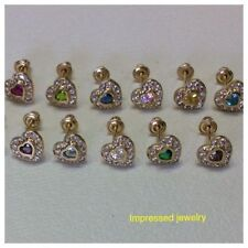 14K Yellow Gold Birthstone Heart Stud Earrings for Baby and Children Screw Back
