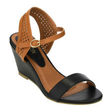 SUKKY-8 Women's Perforated Wedge Heel Ankle Strap Sandals Half Size Bigger