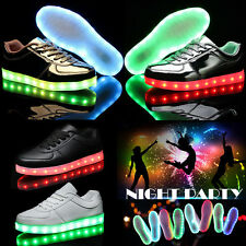 New Fashion Unisex 7 LED Lights Up Shoes USB Sneakers Lace-up Casual Sneakers