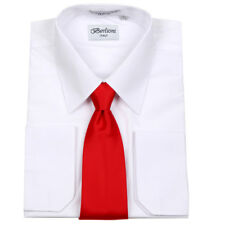 Men's Berlioni Business French Cuff Tie Set White Dress Shirt And Red Tie