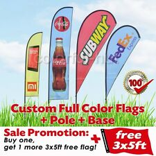 Custom Double Sided Teardrop Feather Swooper Flag +Pole Base +1 extra FREE 3x5ft