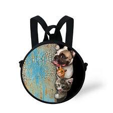 Dog Hamster Cat Girls Handbag Purse Round Backpack Kids Kindergarten Round Bag