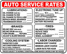 "Auto Service Rates... 24""x30"" Heavy Duty Indoor/Outdoor Plastic Sign AP-33"