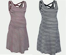 NEW LOOK MATERNITY NAVY OR WINE STRIPED CROSS BACK SKATER DRESS ALL SIZES NEW