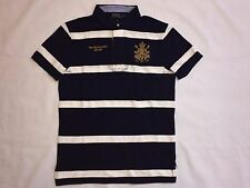 NEW WITH TAGS POLO RALPH LAUREN MEN'S  CUSTOM FIT RUGBY POLO SHIRT-NAVY / WHITE