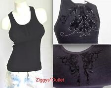 SILVER DAGGER Tank Top S M L Black Crystal Eagle New Women Sleeveless Shirt NWT
