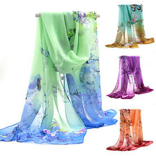 Womens Medium Long Chiffon Stole Scrawl Flower Printed Wrap Soft Scarf Engage