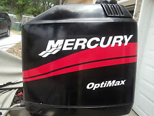 """MERCURY BOAT MOTOR COWL DECAL SET in Red + """"Your Choice of HP Rating"""" Optimax"""