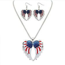 New Resin Wings Drip  Bohemia Earrings Necklace Jewelry Sets Stars and Stripes