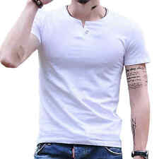 New Mens Slim Fit O-Neck T-Shirt Solid Short Sleeve Muscle Tee 100% Cotton Shirt