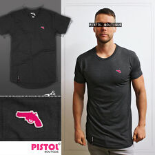 "Pistol Boutique plain charcoal ""Blank"" Long Line crew neck mens t-shirt gun logo"