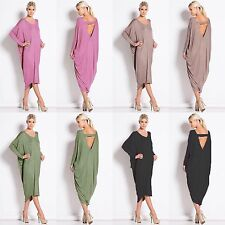 Ladies baggy longsleeve backless Party Cocktail Clubwear Midi Dress Plus Size