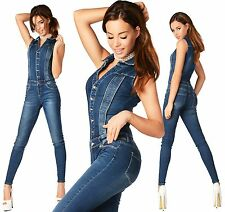 Sexy New Women's Denim Jeans Blue Jumpsuit Overall Skinny Slim E 051