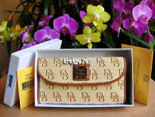 New With Tag Auth Dooney & Bourke Signature Checkbook Organizer Cocoa Wallet