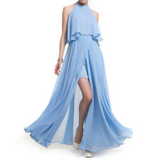 Sexy Sleeveless O Neck Chiffon Split Maxi Formal Party Gown Evening Long Dress