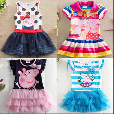 Pretty NEW Toddler Kids Girls Peppa Pig Short Sleeve Cotton Dresses Clothing
