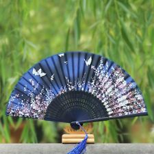 Ribs Handle Handmade Craft Silk Fan Folding Fan Bamboo Fan Silk Female Fan