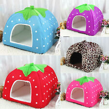 Pet Dog Cat Bed Durable Soft Strawberry House Kennel Dog Cat  Warm Cushion