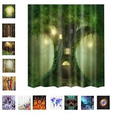 Water Resistant Bathroom Shower Printed Curtain Polyester Panel w/ 12 Ring Hooks