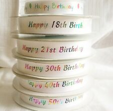 18-21-30-40-50-60-70-80 HAPPY BIRTHDAY RIBBON CAKE TOPPER CRAFTS  GIFTS  CARDS