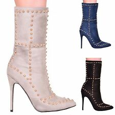 LADIES WOMENS STUDDED ANKLE HIGH HEEL STILETTO STUD BOOTS FASHION SEXY SHOE SIZE